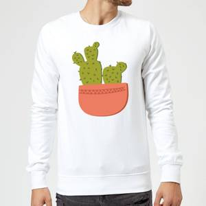 Two Potted Cacti Sweatshirt - White