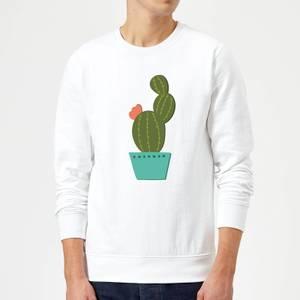 Single Potted Cactus Sweatshirt - White