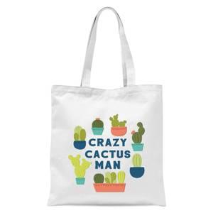 Crazy Cactus Man Tote Bag - White