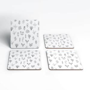 Hand Drawn Flower Pattern Coaster Set