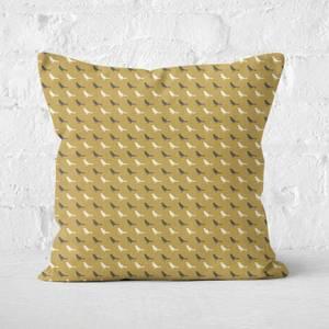 Golden Bird Pattern Square Cushion