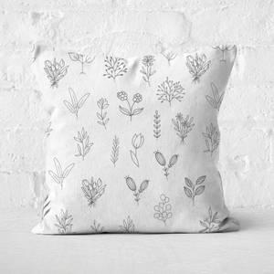 Hand Drawn Flower Pattern Square Cushion