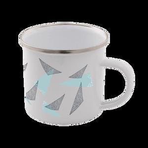 Triangles Enamel Mug – White