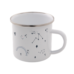 Astrology Print Enamel Mug – White