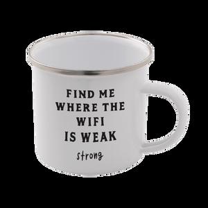 Find Me Where The Wifi Is Weak Enamel Mug – White