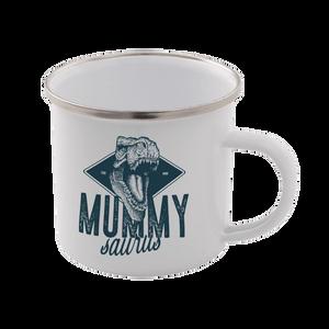 Mummy Saurus Enamel Mug – White