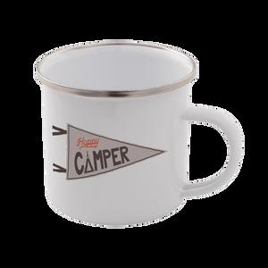 Happy Camper Enamel Mug – White