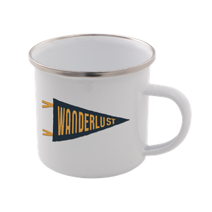Wanderlust Enamel Mug – White