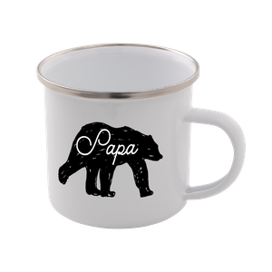 Papa Bear Enamel Mug – White