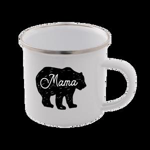 Mama Bear Enamel Mug – White