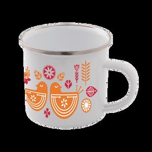 Scandi Bird Print Enamel Mug – White