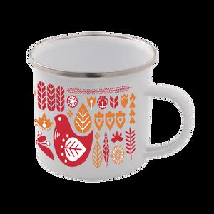Colourful Scandi Enamel Mug – White