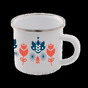 Colourful Flower Scandi Print Enamel Mug – White