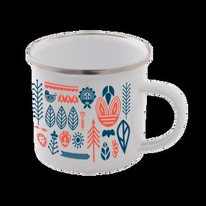 Flower All Over Scandi Print Enamel Mug – White