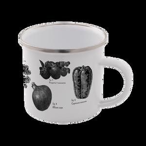 Vegetables Enamel Mug – White