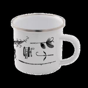 Fishing Enamel Mug – White