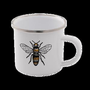 Bees Enamel Mug – White