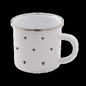 Bee Pattern Enamel Mug – White