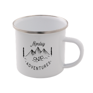 Monday Adventure Enamel Mug – White