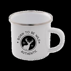 Born To Be Wild Enamel Mug – White