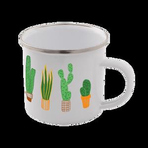 Cactus Enamel Mug – White