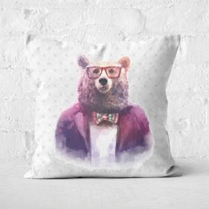 Hipster Bear Square Cushion