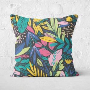 Colourful Leaf Print Square Cushion