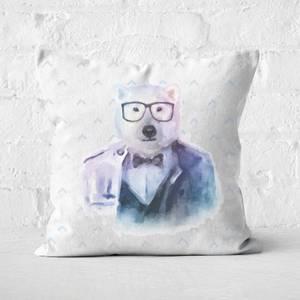 Hipster Polar Bear Square Cushion