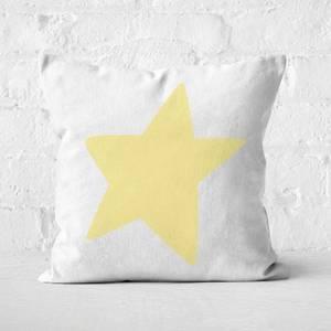 Light Yellow Star Square Cushion