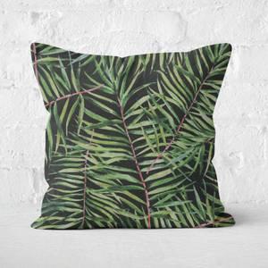 Dark Tropical Leaves Square Cushion