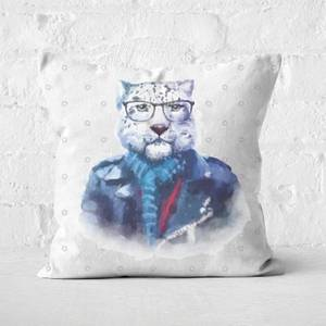 Hipster Snow Leopard Square Cushion