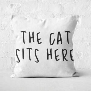 The Cat Sits Here Square Cushion