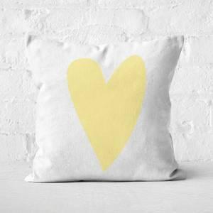 Light Yellow Heart Square Cushion