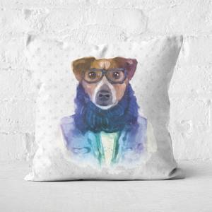 Hipster Dog Square Cushion
