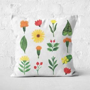 Light Botanical Flowers Square Cushion