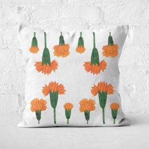 Orange Botanical Flowers Square Cushion