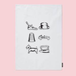 Monopoly Pieces Cotton Tea Towel