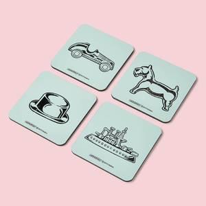 Monopoly Pieces Letterpress Coaster Set