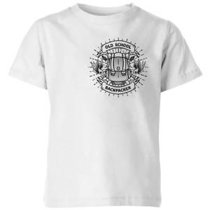Vintage Old School Backpacker Pocket Print Kids' T-Shirt - White