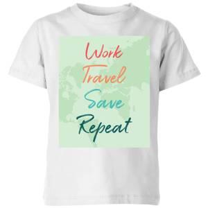 Work Travel Save Repeat Background Kids' T-Shirt - White
