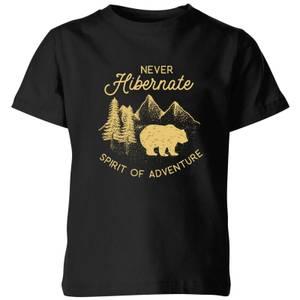 Never Hibernate Spirit Of Adventure Kids' T-Shirt - Black