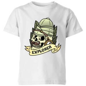 Explorer Skull Kids' T-Shirt - White