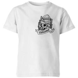 Explorer Skull Pocket Print Kids' T-Shirt - White