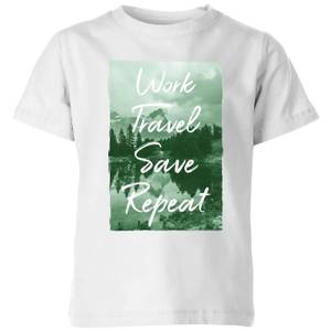 Work Travel Save Repeat Forest Photo Kids' T-Shirt - White