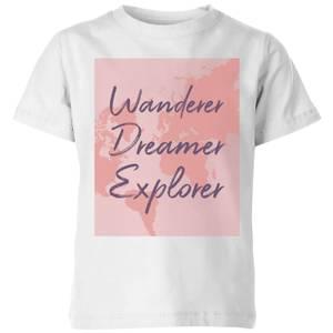 Wander Dreamer Explorer With Map Background Kids' T-Shirt - White