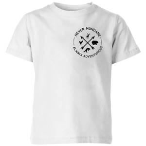 Never Mundane Always Adventurous Pocket Print Kids' T-Shirt - White