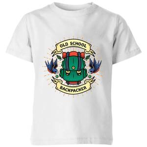 Vintage Old School Backpacker Kids' T-Shirt - White