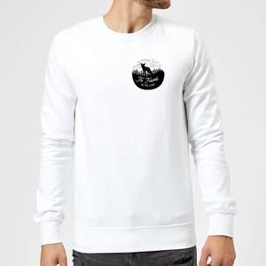 Black To Travel Is To Live Pocket Print Sweatshirt - White