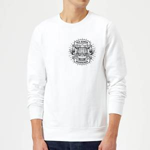 Vintage Old School Backpacker Pocket Print Sweatshirt - White