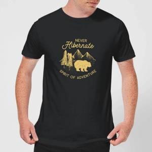 Never Hibernate Spirit Of Adventure Men's T-Shirt - Black
